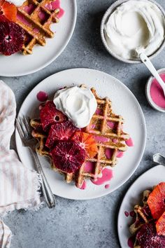 Low Unwanted Fat Cooking For Weightloss Fluffy And Crispy Gluten-Free Chamomile Waffles Made Gluten-Free Drizzled With Hot Pink Blood Orange Glaze. These Sweet Floral Waffles Are Perfect For Valentine's Day, Mother's Day, Or Any Sunday Brunch Savory Breakfast, Sweet Breakfast, Healthy Breakfast Recipes, Waffle Recipes, Brunch Recipes, Blood Orange, Pink Blood, Pancakes And Waffles, Breakfast Waffles