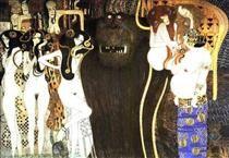 The Beethoven Frieze: The Hostile Powers. Left part, detail - Gustav Klimt