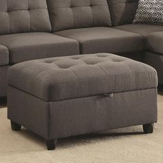 The Coaster Furniture Stonenesse Storage Ottoman is more than just a companion - It's an essential part of the team. This ottoman offers superior. Ottoman In Living Room, Living Room Storage, Living Room Grey, Small Living Rooms, Square Storage Ottoman, Fabric Storage Ottoman, Upholstered Storage Bench, Ottoman Decor, Tufted Ottoman
