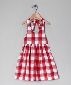 Red & White Plaid Halter Dress - Toddler & Girls
