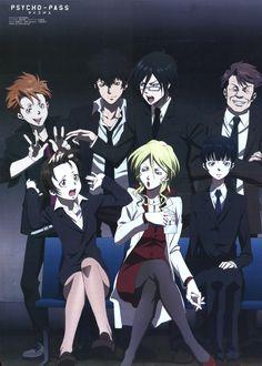 PSYCHO-PASS, Kougami Shinya, Tsunemori Akane, Kunizuka Yayoi, Karanomori Shion, Ginoza Nobuchika, Masaoka Tomomi, Kagari Shuusei