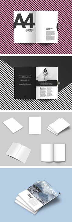 The freebie of the day is a nice set of 5 blank magazine mockups in A4 format. Made with Smart Objects. Designed to be used to create visual prototypes.