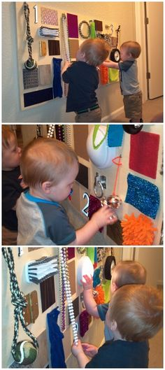sensory board: toddler and infant playroom activity Infant Activities, Learning Activities, Activities For Kids, Sensory Wall, Sensory Boards, Sensory Board For Babies, Toddler Play, Baby Play, Toddler Busy Board