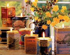 Recycle graphic tea tins by turning them into decorative candles—they make a great hostess gift! Instructions: Candle Tins   - CountryLiving.com