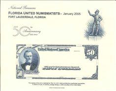 B273 BEP Souvenir Card FUN 2005 $50 National Currency Ponce De Leon Intaglio
