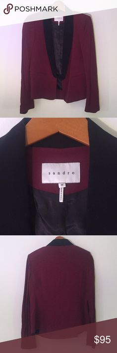 Sandro Burgundy Virgule Blazer Sz 36 Euro (Small) This Sandro Virgule Burgundy Blazer is in fantastic condition! No flaws! Perpetually in style, this is an amazing piece. Size 36 European (US small). This is style sold out everywhere. Ask if you have any questions Sandro Jackets & Coats Blazers