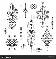 Vector Tribal elements, ethnic collection, aztec stile, tribal design isolated on white background. Abstract ornament geometric aztec native pattern art. Triangle geometrical aztec ornamental.