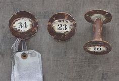 Distressed Numbered Hooks, Set of 3 - From Antiquefarmhouse.com - $22.00