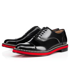 """A close relative of our always unconventional """"Dechaine Flat,"""" our newest derby style is a more modest approach for your typical attention seeker. """"Joey Flat"""" features smooth black leather trimmed in contrasting rope and finished with a fire red sole. This impeccably crafted shoe is for the proper gentleman who is looking to have a little fun!"""
