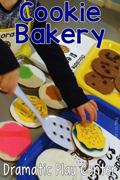 Sugar cookies, chocolate chip cookies, and even gingerbread cookies are on the menu at this Cookie Shop and Bakery Dramatic Play Center!