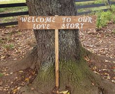 Rustic Wedding Sign - Custom Wedding Signage - Rustic Wedding - Welcome To Our Love Story - Outdoor Wedding on Etsy, $35.00