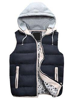 Minibee Men's Autumn-winter Removable Hoodie Down Vest Na…