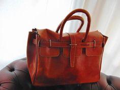 Vintage Leather Travel Duffel Bag