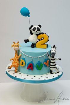 Panda and friends cake by Soraia Amorim Jungle Birthday Cakes, Jungle Theme Cakes, Baby Boy Birthday Cake, Animal Birthday Cakes, Safari Cakes, Baby Boy Cakes, Bolo Panda, Zoo Cake, Cake Designs For Kids