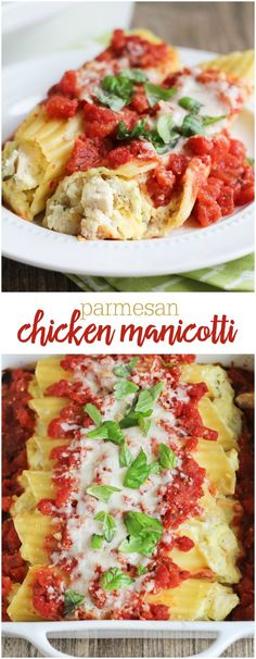 Delicious Parmesan Chicken Manicotti - it's a favorite dish and tastes like it came straight from the restaurant. Recipe on { lilluna.com }