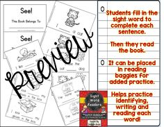 Sight Word Books for 70 sight words.  Each book is 6 pages long.  Students identify, write and read each word.  Great for reading bags and home/school connection!