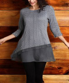 Another great find on #zulily! Gray Cable-Knit Asymmetrical Tunic - Plus #zulilyfinds