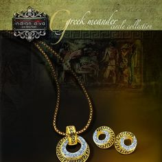 Greek Meander Circle Collection   1) classy geometrical pendant set   2) 2 tone plating - rhodium and 24k gold   3) black enamel   4) high grade rhinestones   5) chain not included   6) MRP 1099   7) sep offer 799  Mail your orders lizsubhakar@gmail.com