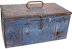 Vintage Toolbox old blue toolbox with great patina and wear to paint..adds character