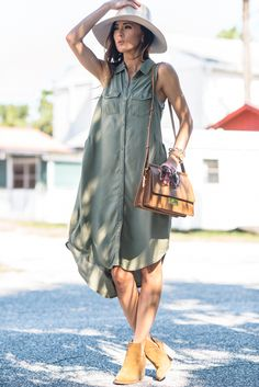 Olive green shirt dress + tan booties