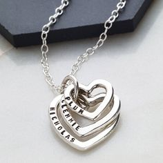 Carry those special people in your heart at all times with this personalised family names necklace.We can only stamp the Roman alphabet in the font shown in the product images. The following punctuation and symbols are available: fullstop, comma, '&', plus all numerals. Please contact us if your personalisation features unusual characters, such as fadas or umlauts, before placing your order. If you wish the hearts to be left blank, please write BLANK in the personalisation box. Each item ...