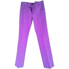 Pre-owned Trousers (€159) ❤ liked on Polyvore featuring pants, fuchsia, dolce gabbana pants, regular fit pants, purple pants, dolce gabbana trousers and cotton trousers