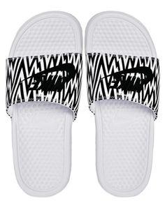 Image 3 ofNike Benassi White Printed Sliders