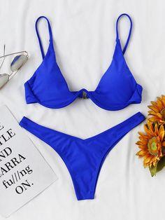 Shop Underwire Top With High Leg Bikini Set online. SHEIN offers Underwire Top With High Leg Bikini Set & more to fit your fashionable needs. Bikini Set, Haut Bikini, High Leg Bikini, Two Piece Bikini, Underwired Bikini, Underwire Bikini Top, Thong Bikini, Bikini Swimwear, Women's Bikinis