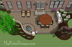 Relaxing Backyard Patio - Patio Designs & Ideas, but fire pit instead of fountain!