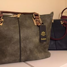 Two large Bessie Bags. tan & khaki. Red & Navy. Both on www.rhubarbandcrumble.co.uk