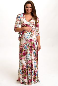 It will be impossible not to catch everyone's eye in this vibrant, feminine maxi dress! Ivory-Floral-Draped-3/4-Sleeve-Maternity-Maxi-Dress