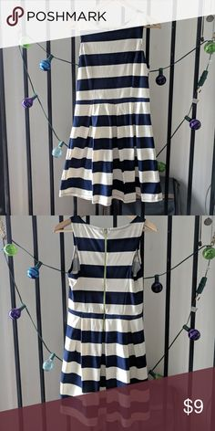 Pleated Navy/White Dress 🌻 Sleeveless navy and white striped dress with exposed zip up back, a-line pleated bottom, dress casual perfect for work! Only worn a few times.  Feel free to message with questions!   Xhilaration Xhilaration Dresses Midi