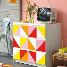 Feeling inspired by this IKEA hack found on @poppytalk.  Use our products to create a one of a kind look!  Easy, fun, and hassle free with out the paint mess.  These bright colors and geometric shapes  have us swooning! #mydcfixca #inspiration #contactpaper