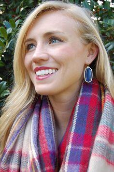 Kendra Scott earrings & plaid scarf.