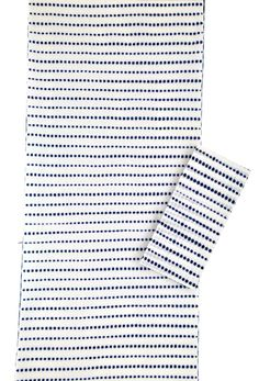 This indigo-and-white tenugui has an all-over, small-dot shibori pattern-- perfect for napkins or small hand towel.