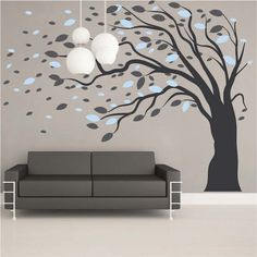 Blowing Tree Wall Art Design  |  Trendy Wall Designs
