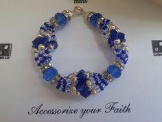 Amazing Blue and Crystal Bracelet - Ilde inspired on African Orisha Yemaya, Yemanja, Yemoja, Queen of Seas, Orisha's mother