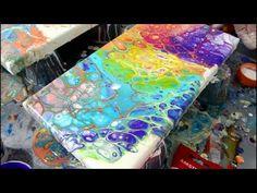 Acrylic RAINBOW Fluid Paint Pour NO MUD!!! - YouTube