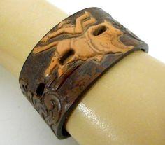Boho Western Reclaimed Leather Cuff Bracelet by honeyblossomstudio