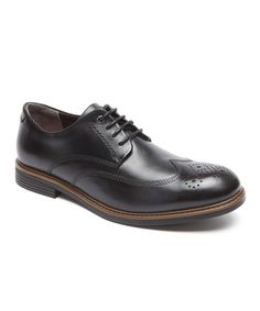 Black Leather Wing Tip Oxford