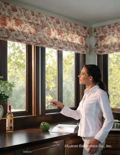 Enjoy a fresh cup of coffee with the morning sun. Open up your kitchen curtains with the touch a button. Kitchen Curtains, Valance Curtains, Window Coverings, Window Treatments, Honeycomb Shades, Spring Projects, Coral Springs, Open Up, Roman Shades