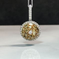 Diamonds are the best gift u can give- other than time. 14K Gold Yellow & Champagne Diamonds Dome Pendant