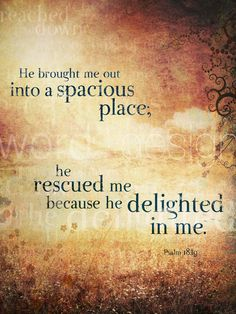 Psalms 18:19-He also brought me out into a broad place; He delivered me because He delighted in me.