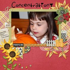 Look at that Concentration! She wanted her pumpkin to have the perfect face, so she was going to use her markers on it. She's such a creative soul. I used a cute kit from Simple girl scraps Simple Girl Scraps cakked -Harvest Time: http://store.gingerscraps.net/Harvest-Time.html AND great template from Dagi: Make it big Templates: found here: http://store.gingerscraps.net/Make-It-Big.html