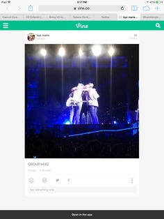 The boys did a group hug tonight! IM NOT OK ! ( click pic to see vid) Where We Are Tour, See Videos, Im Not Okay, Get Over It, Hug, Vines, Tours, Group, Arbors