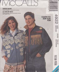 Jacket and Vest Pattern Fringe and Applique Men and Women Size 36 - 38 Medium Uncut  McCalls 4922 by PrettyfulPatterns on Etsy