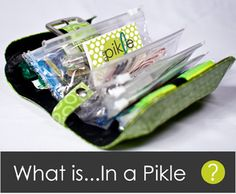 In A Pickle bag. Super cute bag filled with EVERYTHING you could ever need when in a jam. Great gift idea! ~~~I WILL BE GETTING ONE OR MAKNG MY OWN - HOW COOL!!!!
