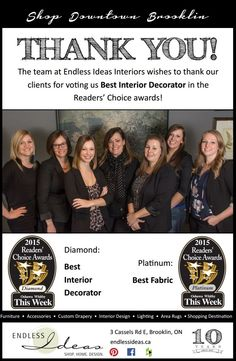 THANK YOU! The Team at Endless Ideas Interiors wishes to thank our clients for voting us Best Interior Decorator in the Readers' Choice awards! #EndlessIdeas