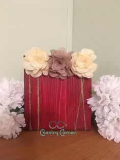 Red Rustic Wood Photo Block w Burlap Flowers  by CCsCountryCorner