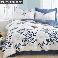 Azul hoja de olivo impresión juego de ropa de cama ropa de cama juegos de cama colcha floral bohemio de rayas plaid funda nórdica estilo moderno
